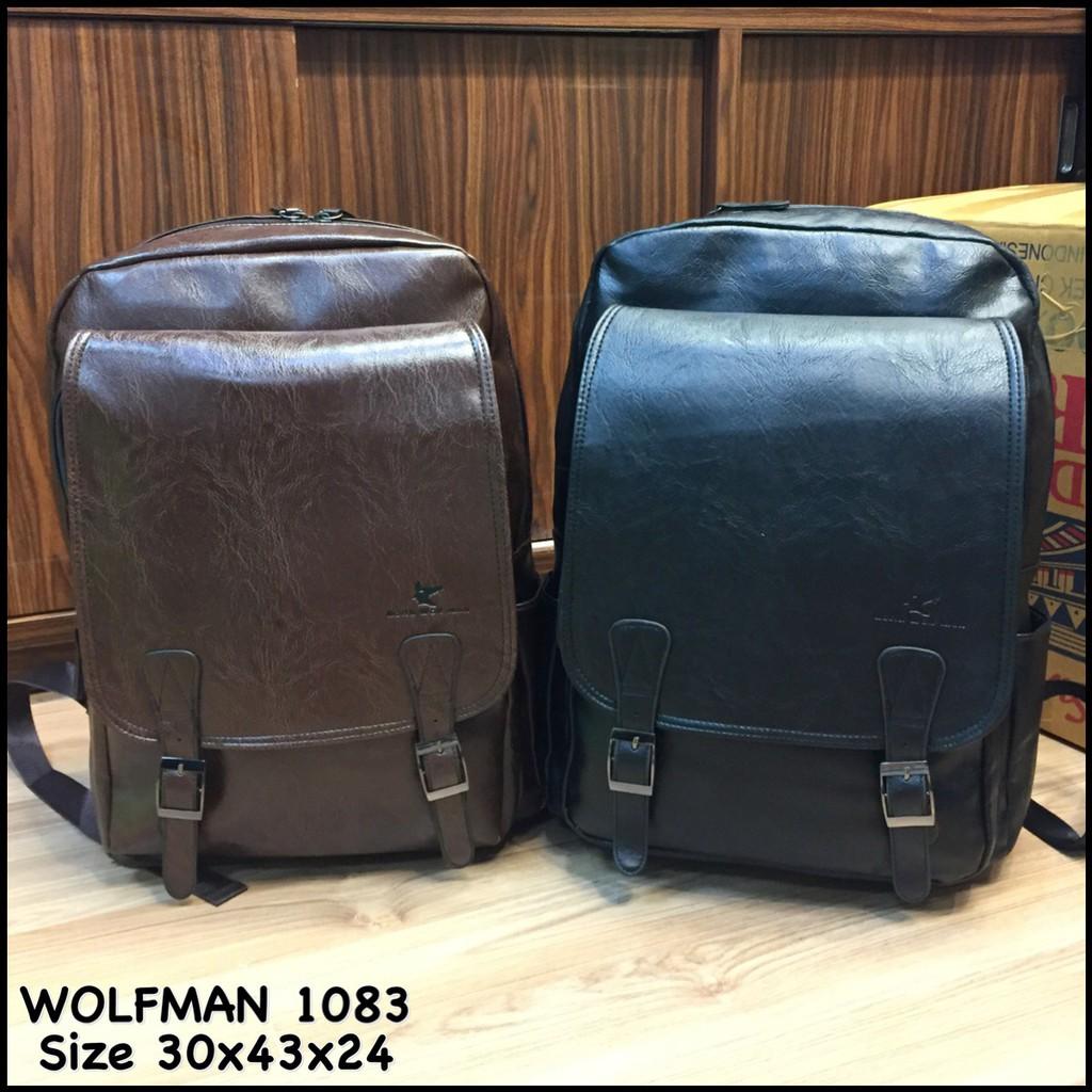 tas pria ransel wolfman 1083 tas ransel tas cowok tas kulit tas backpack tas  punggung tas murah  8b6791510e