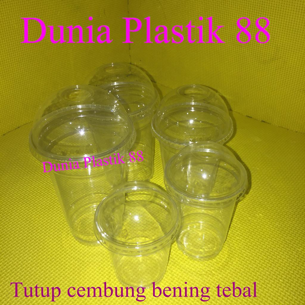 isi50pcs GELAS cup plastik BENING PET 8oz 10oz 12oz 16oz 20oz + TUTUP CEMBUNG tebal dome lid   Shopee Indonesia