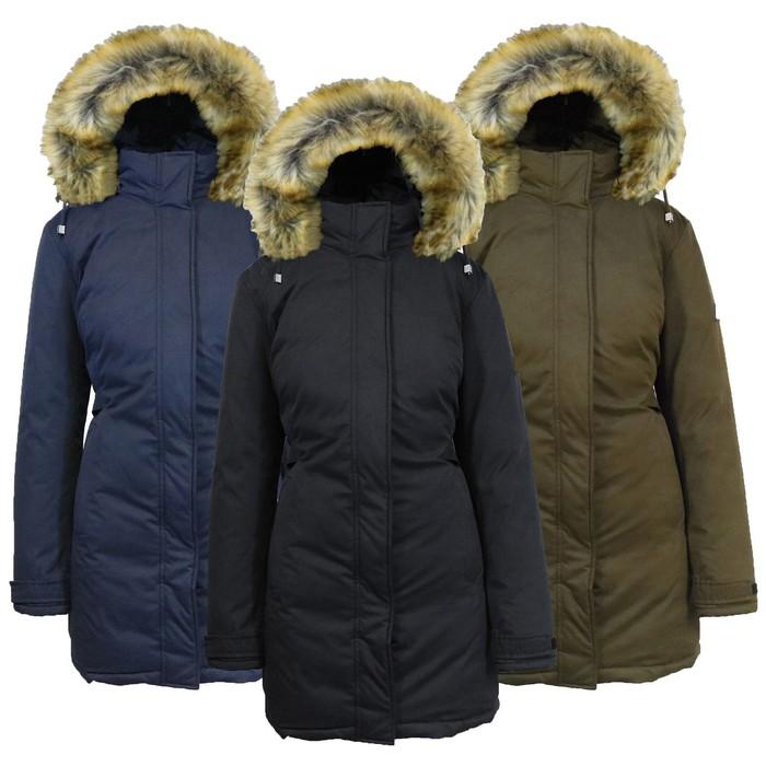 Women/'s Fur Coat Jacket Parka Comfort Warm Fur Hood Zipper Trims Winter Warm