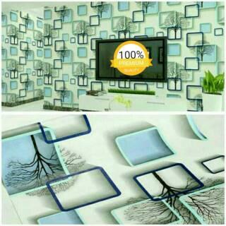 Wallpaper Dinding Murah Ruang Tamu Kamar Kotak 3d Biru Minimalis Terbagus Terlaris Cantik Indah