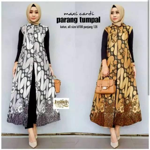 Outer Batik Kekinian Bahan Katun Cantik Simpel Long Cardy Allsize Modis Trendy