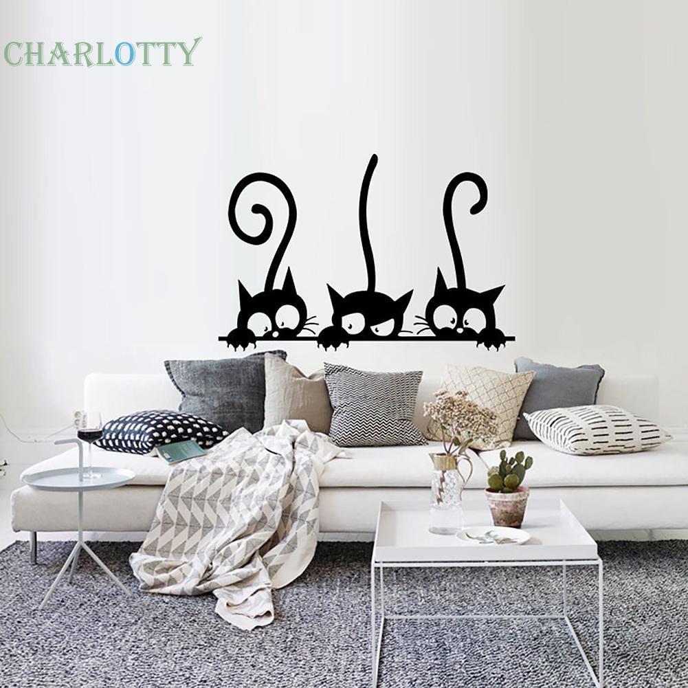 Stiker Dinding Dengan Bahan PVC Tahan Air Dan Gambar Motif Kucing Untuk Dekorasi Rumah