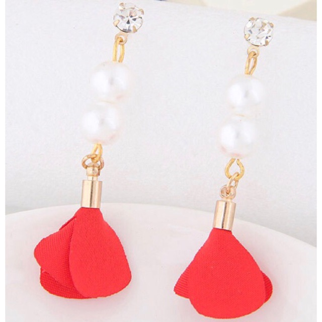 LRC Anting Tusuk Elegant White Double Pearl Decorated Pure Color Simple Earrings | Shopee Indonesia