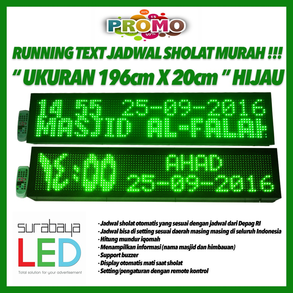 Running Text Wifi 2 Sisi Shopee Indonesia Controller Jadwal Sholat Digital P10 Android