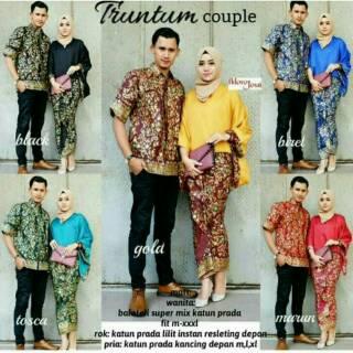 Baju Batik Couple Sarimbit Seragam Pesta Kebaya Wanita Wisuda Baju