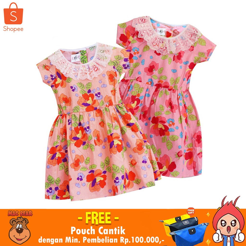 Macbee Kids Baju Anak Dress Chika Polka Variasi Lengan Sabrina Stripy Beetle Size 4 Orange Shopee Indonesia