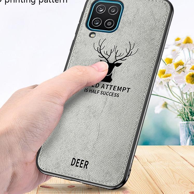Terbatas Case Samsung A12 Cloth Leather Deer Case Premium Softcase Casing CQ9