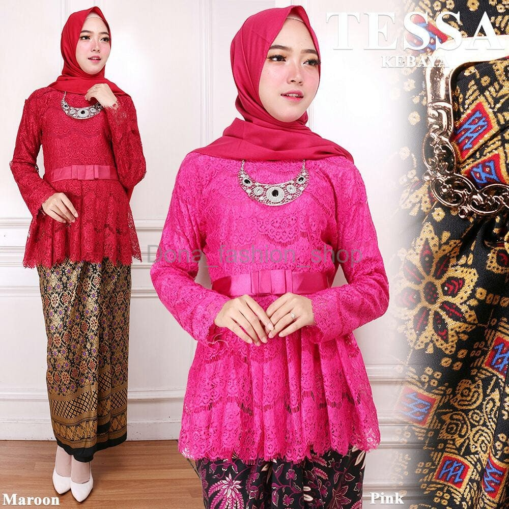 Best Seller Dan New Collection Setelan Kebaya Brukat Bsd Furing Marun Dan Pink Fanta