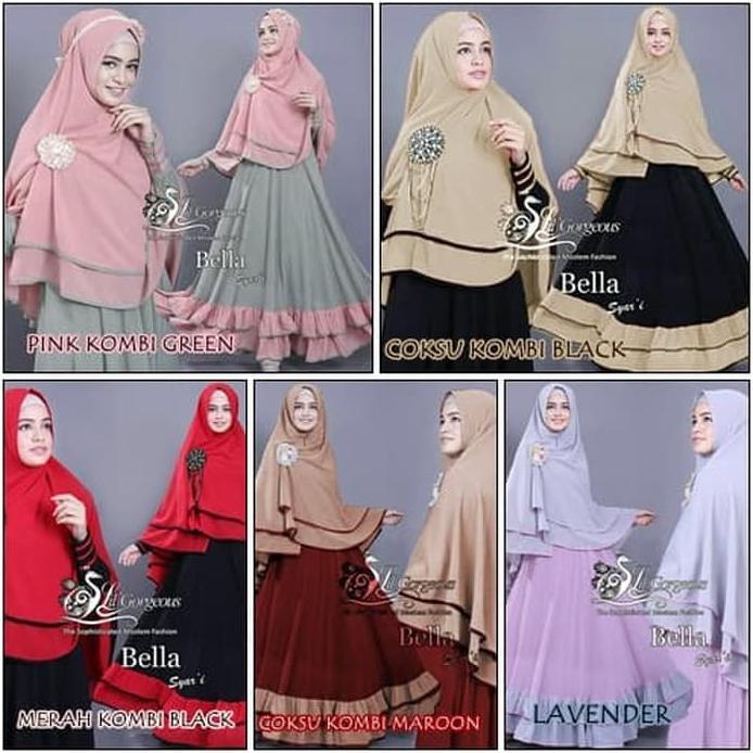 Murah Gamis Syari Muslimah Free Hijab / Bahan Jersey Motif Bella   Shopee Indonesia