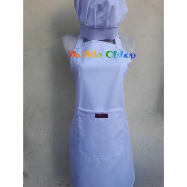 Celemek Cotton Polos Set Topi Koki  a790b7c077