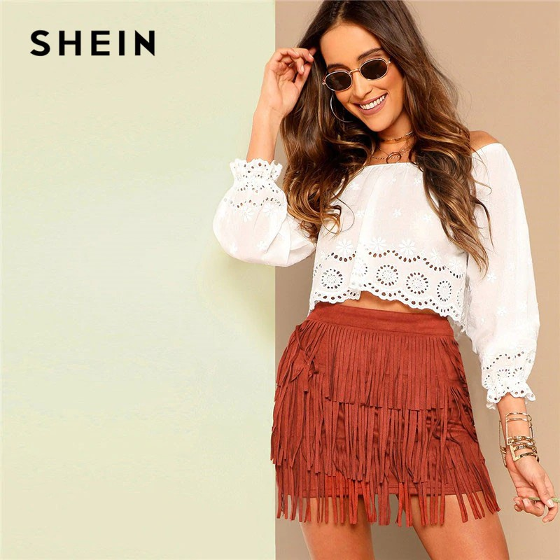 c4c6bf53bf SHEIN Lace Laser Cut Bishop Sleeve Bardot Off Shoulder Solid White Crop  Blouse Summer Beach Casual