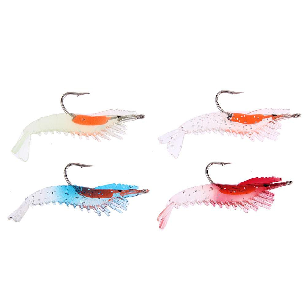 Soft Fishing Bait Luminous Shrimp Lure Hook Swivel Artificial Bass Trout Catfis