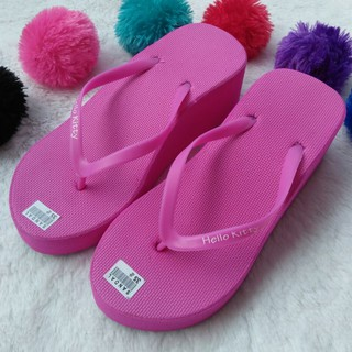 Sandal Wedges Spon Warna PINK FANTA dengan JEPIT POLOS | Shopee Indonesia