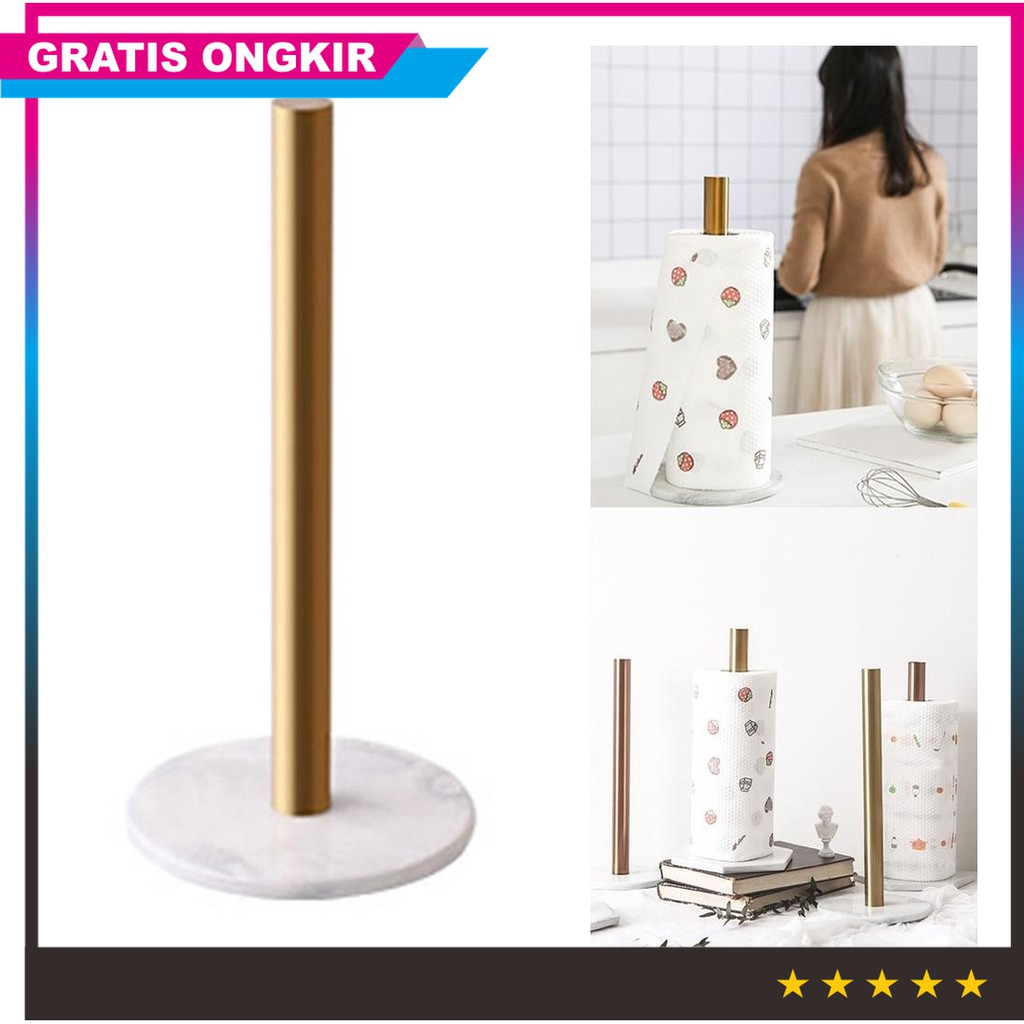 Nordic Marble Kitchen Roll Tissue Gold Plated Retro Towel Hanging Desktop Paper Holder Yd Shopee Indonesia