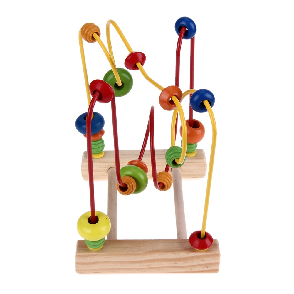 Wooden Toys Baby Math Colorful Mini Around Beads Wire Maze Educational Gift Toy