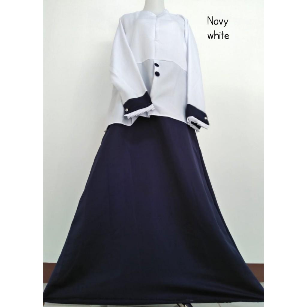 Gamis kerja KANCING PDH pemda PNS seragam guru dinas hitam putih navy  busana pakaian baju formal