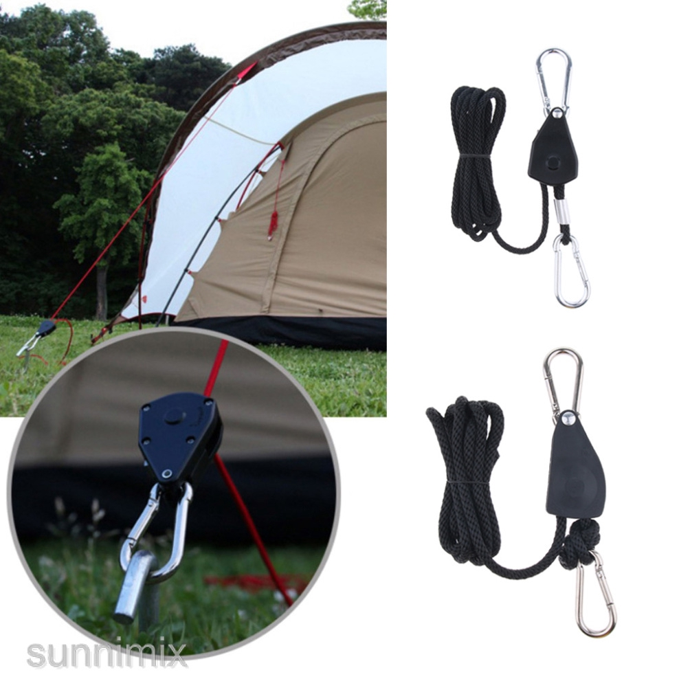 Outdoor Camping Pulley Adjustable Rope Tent Camping Rope Hook StainlessSteel