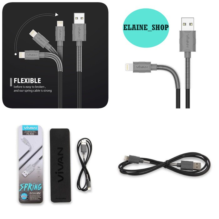 VIVAN FM100 2.4A 1M SPRING MICRO USB DATA CABLE FOR ANDROID | Shopee Indonesia