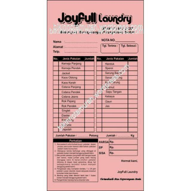 Paket Nota Laundry 2ply 10blok