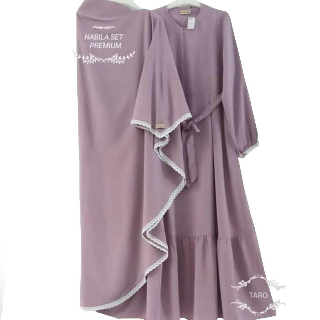 Cod Best Seller Nabila Syari Dress Maxy Gamis Set Syari Plus Khimar Murah Shopee Indonesia