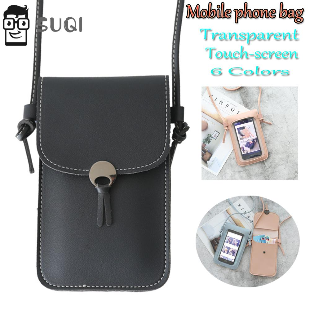 New PU Leather Soft Cases Transparent Touchable Mobile Phone Bag Mini