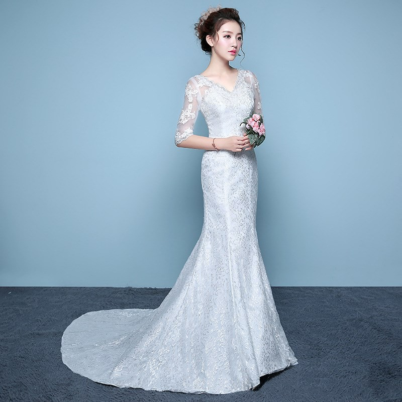 Gaun Pengantin Lace Long Ball Gown Party Bridesmaid Dress Fish Tail Wedding Dress Slim Thin Shopee Indonesia