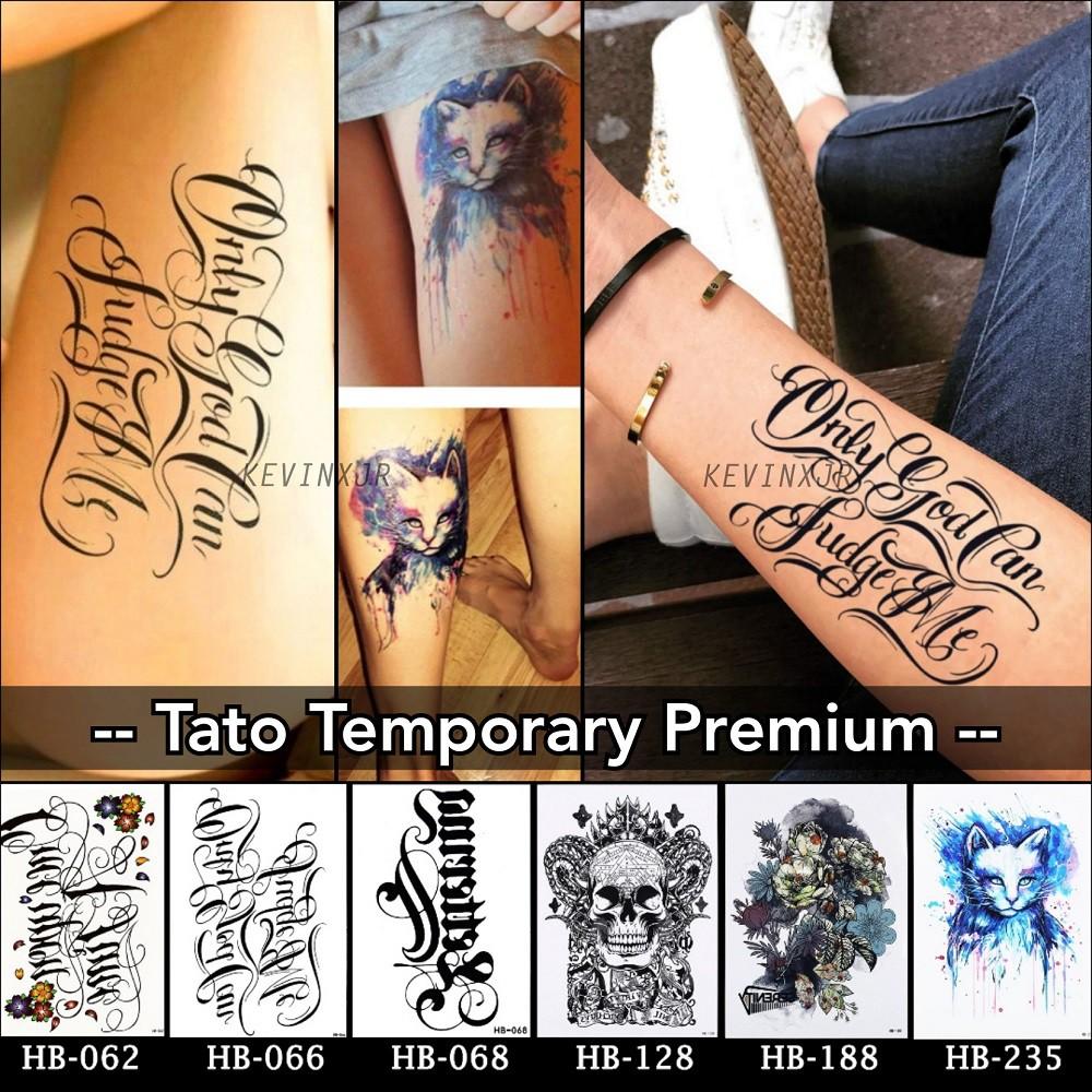 Stiker Tato Temporary Koleksi Tulisan Graffiti Tattoo Sementara Motif Tengkorak Kucing Cat Lucu Shopee Indonesia