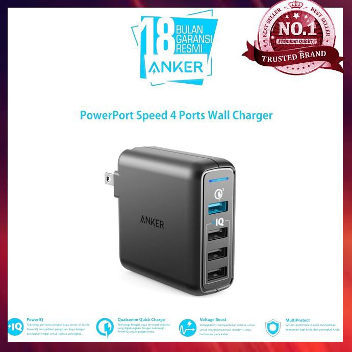 Anker PowerPort Speed 4 Ports Wall Charger ...