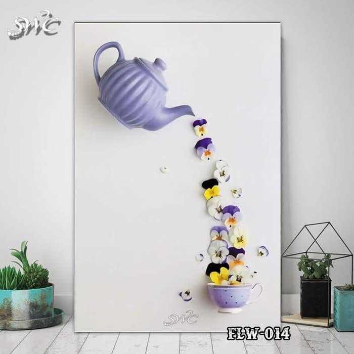 Hiasan Dinding Poster Kayu Quotes Lukisan Bunga Wall Decor Flw014