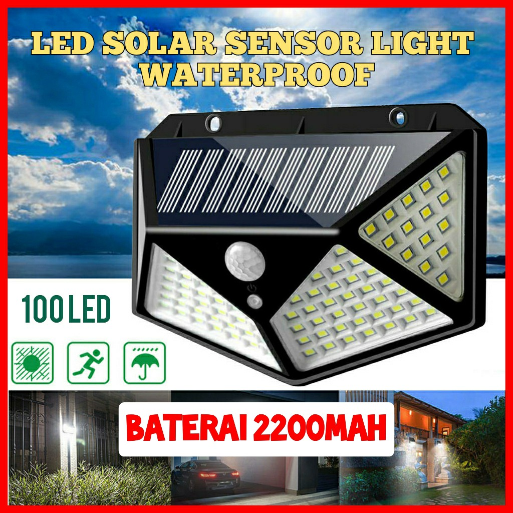 Lampu Taman Tenaga Surya 100led Sensor Light Led Lampu Solar Tenaga Surya Lampu Dinding Shopee Indonesia