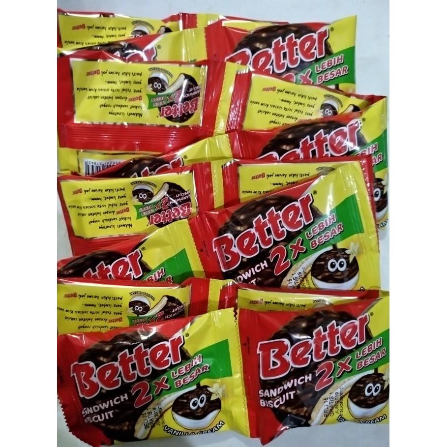 Bestseller Better Sandwich Biscuit Krim Vanila Promo Special Pondan Puding Flan Pouch Shopee Indonesia