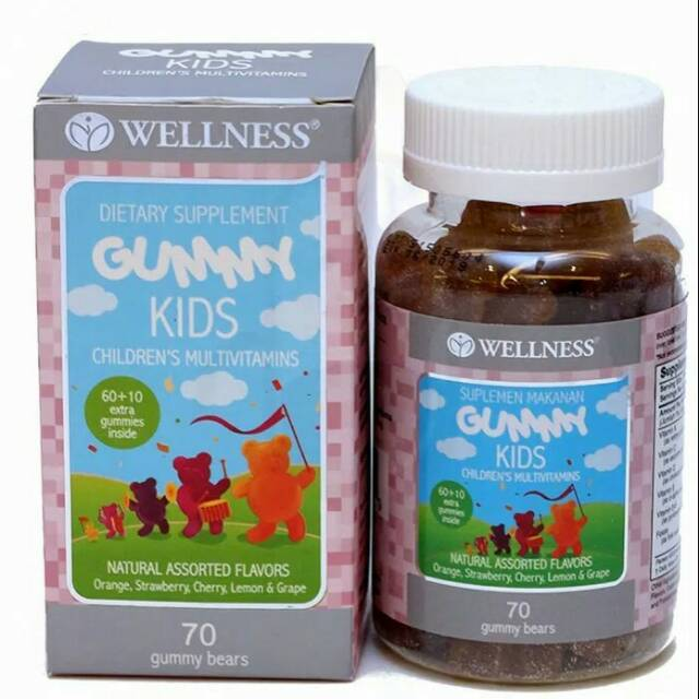 Wellness gummy kids children's multivitamin 70 gummy bears - vitamin anak - daya tahan tubuh anak   Shopee Indonesia