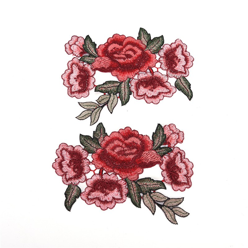 Pair of Red Flower Patches Iron Sew On Flowers Embroidered Patch Badge Applique