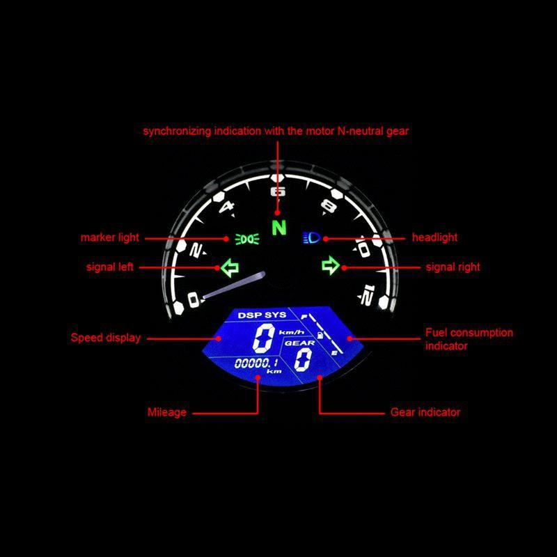 LED Motorcycle Backlight Digital 3 Cylinder Tachometer Speedometer Odometer  Gauge for Motorbike Be V