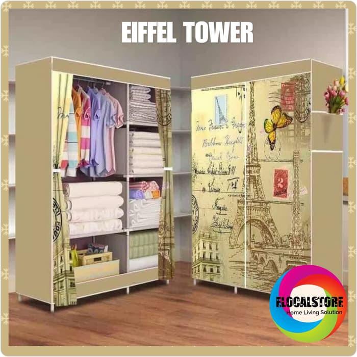 [Terlaris] - RADYSA Lemari Pakaian Portable 2 Layer - Eiffel Tower | Shopee Indonesia
