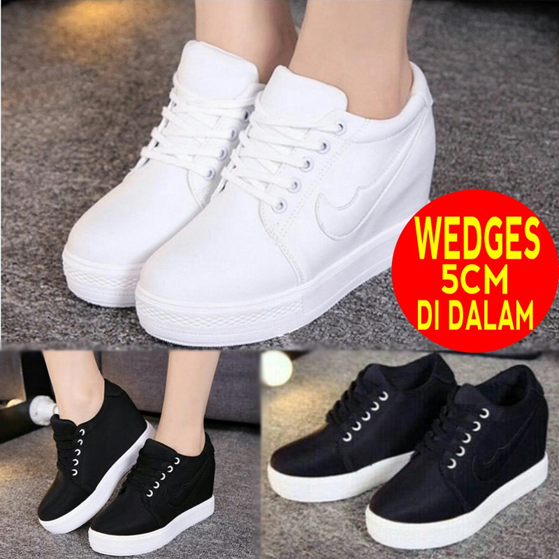 SEPATU KETS SNEAKERS WEDGES REPLIKA GUCCI FLATFORM DATAR LUCU MURAH MAIN  MALL FLOWER MODEL IMPORT  b6c3e81c65