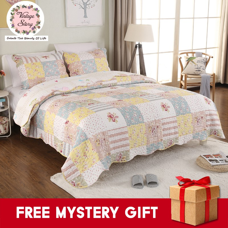 Vintage Story Shabby Bed Cover Set Korea Size King 220x240 Cm