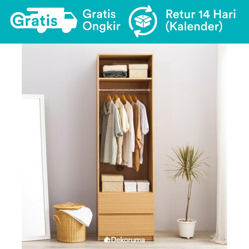 Dekoruma Moku Lemari Pakaian Minimalis Terbuka Dengan Rak Dan Lemari Laci 2 Susun Dari Kayu Olahan Shopee Indonesia Gambar lemari pakaian minimalis