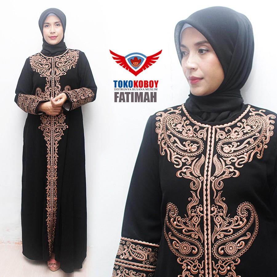 Gamis Abaya Hitam Exclusive Pesta Bordir Arab Black Gold Full 005 Shopee Indonesia