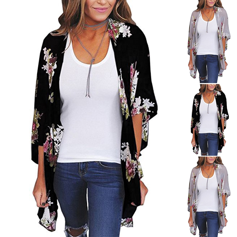 Women Quick Dry Printing Coat Jacket Outdoor Floral Chiffon Tops Blouse Sunscreen Shirt | Shopee Indonesia