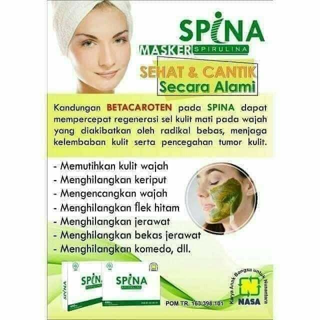 Spina Spirulina Masker Untuk Mencerahkan Wajah Jerawat Komedo Flek Hitam Dan Bekas Jerawat Shopee Indonesia