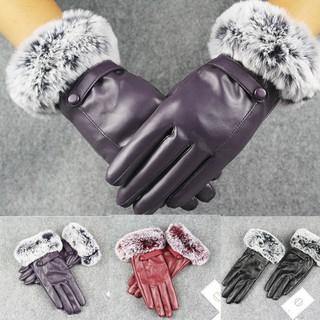Perempuan kulit hitam sarung tangan musim gugur musim dingin yang hangat bulu kelinci sarung tangan