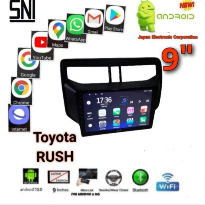 """READY STOCK DOUBLE DIN ANDROID 9"""" RAM 2 GB /16 GB OEM MOBIL ALL NEW RUSH"""