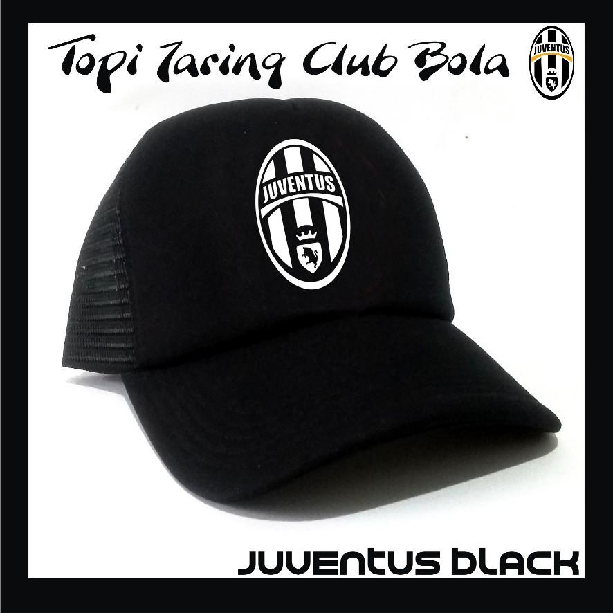 Topi Trucker Logo Juventus Club Bola Custom Hitam Jaring Pria Cowo ... 8bbea64e1b