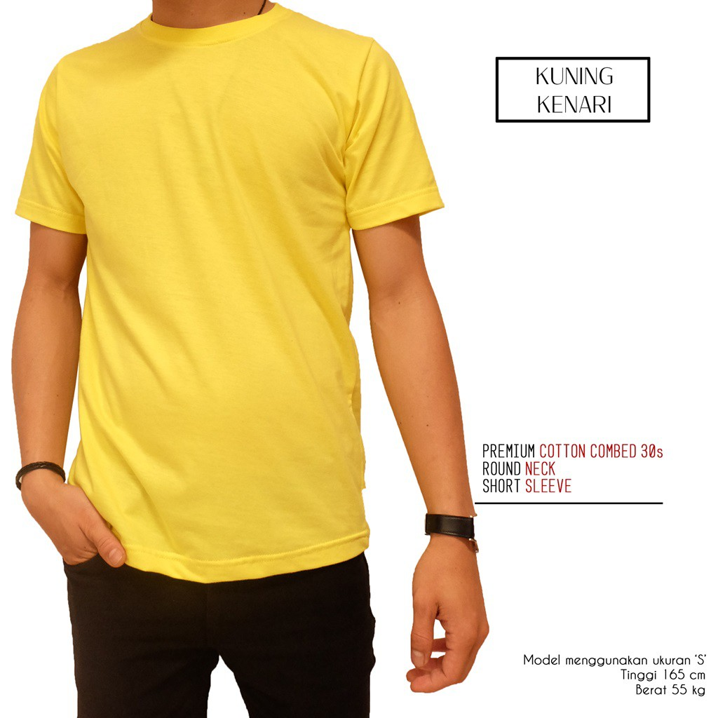 Kaos Polos Kuning Kenari 1000 Cotton Combed 30s Reaktif Shopee 100 Persen Real Premium Indonesia