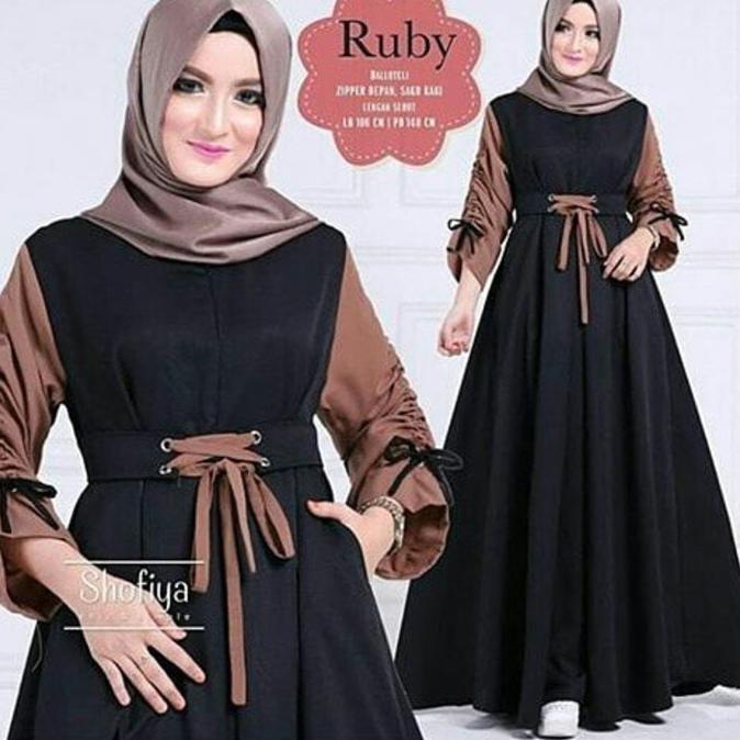 Murah Gamis Lengan Serut Ruby Dress Baju Muslim Syar I Baloteli