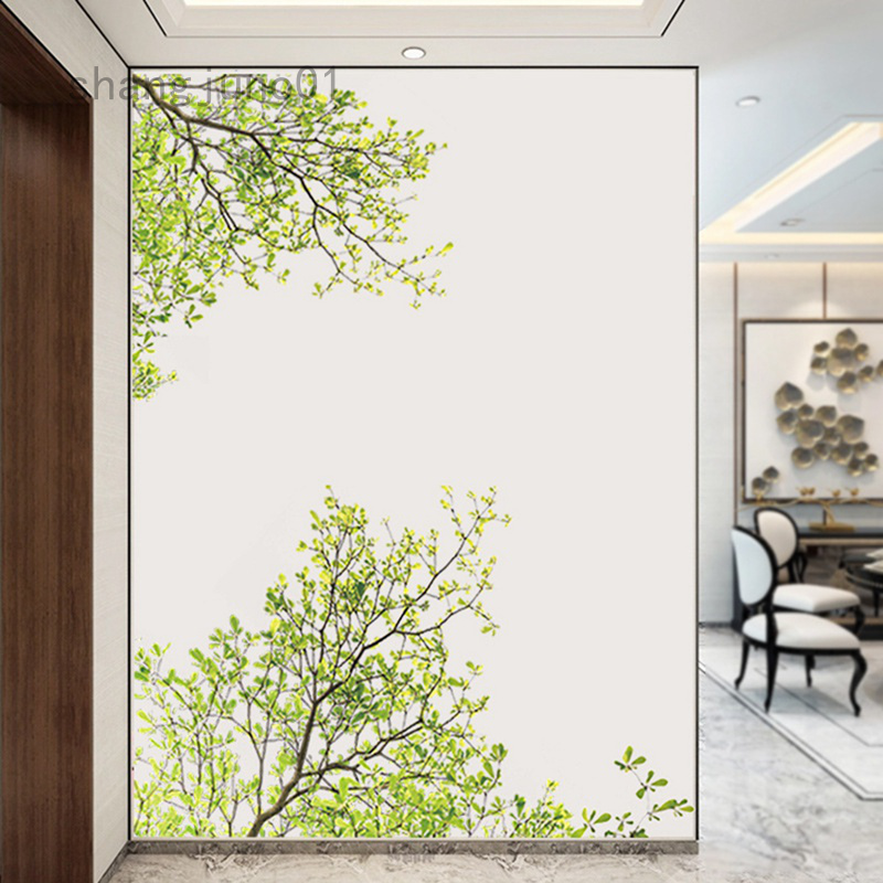 The Background Wall Of The Living Room Is Decorated With Green Branches The Wall Can Be Removed Shopee Indonesia