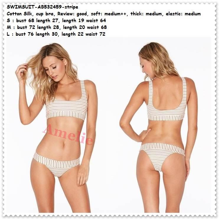 Setelan Baju Renang Wanita Dewasa Top Bra Bikini Import AB632461 Garis  Stripe  7ab94e0813