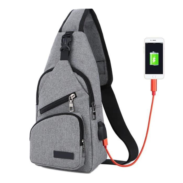 Beli Tas selempang slempang pria USB chestbag slingbag bahu Import SM13 Harga Lebih Murah Bersama Teman | Shopee Indonesia