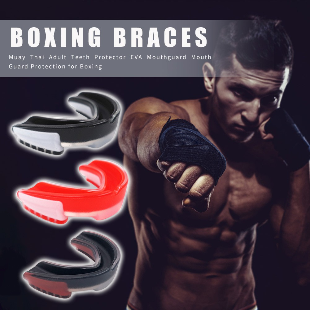 Mens Mouth Guard gum shield Adult Senior Blue Double fight Boxing Muay Thai